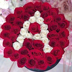 kırmızı gül kutuda harfli-yenimahalle çiçek